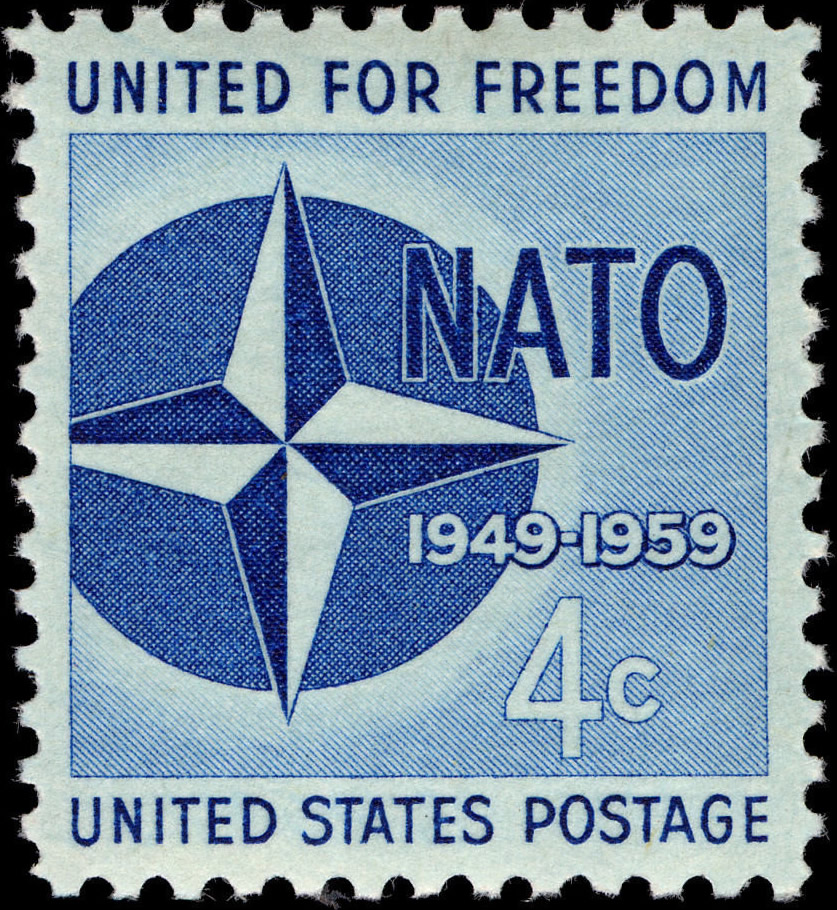 US 4-cent postage stamp from 1959 commemorating 10th anniversary of NATO
