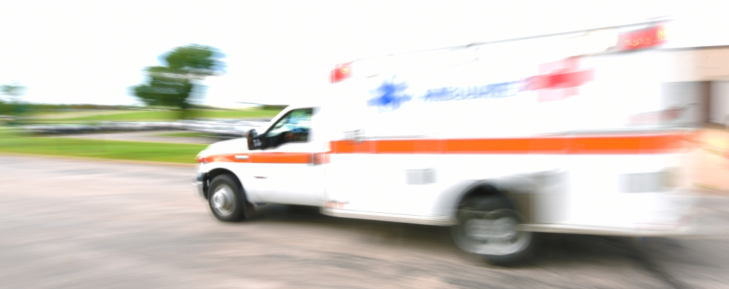 Ambulance speeding to emergency