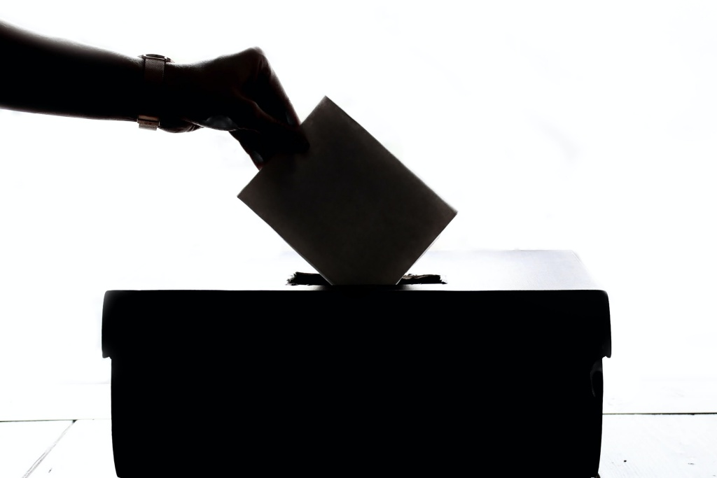 A hand deposits a vote into a ballot box