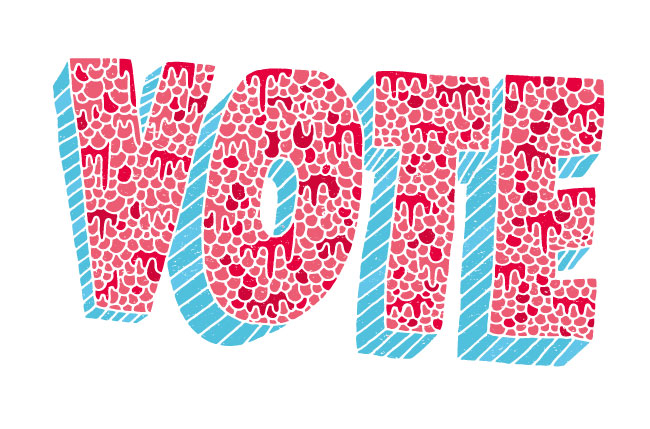 Red, white and blue graphical cartoon of the word VOTE