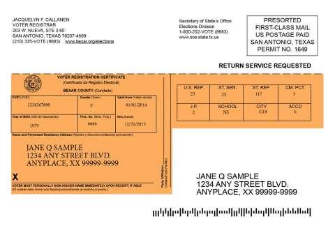 Sample orange Texas voter registration card