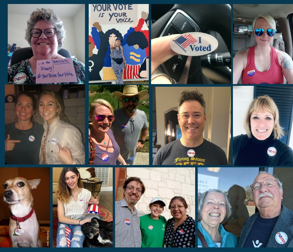 """Collage of Kendall County Democrats with """"I Voted"""" stickers"""
