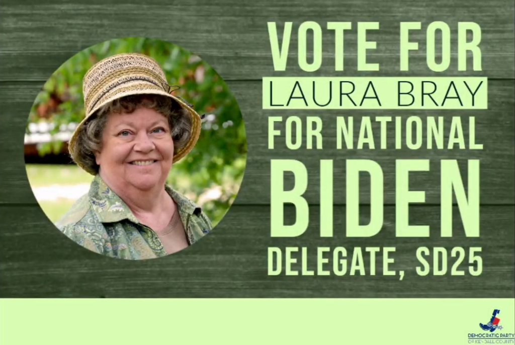 """Headshot of Laura Bray with message, """"Vote for Laura Bray for National Biden Delegate, SD25"""""""