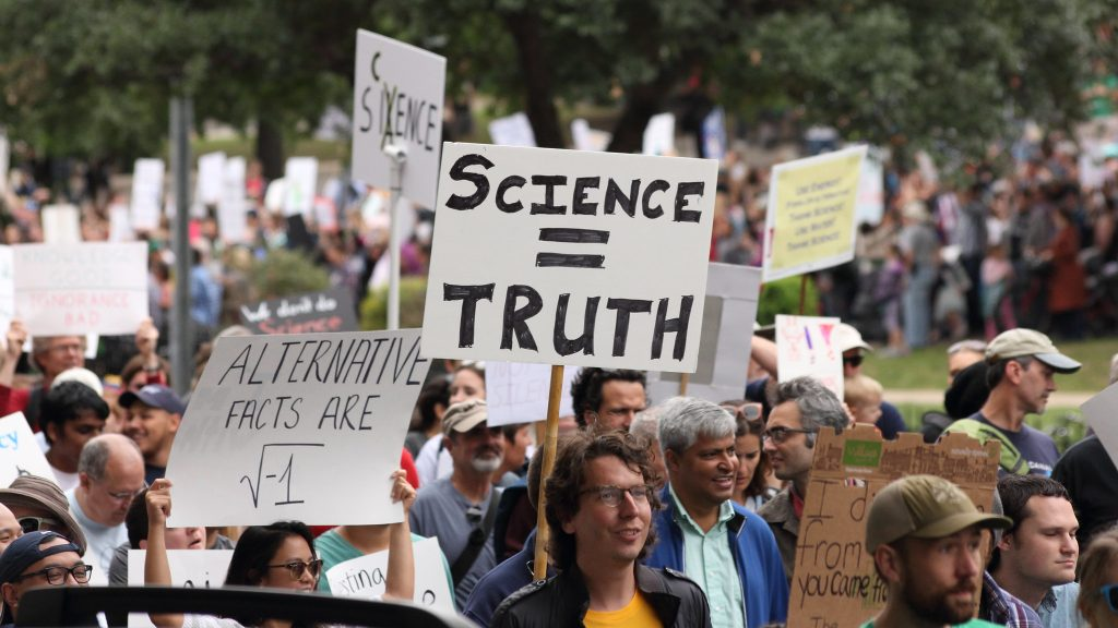 March For Science event in Austin, Tx promoting the sciences.