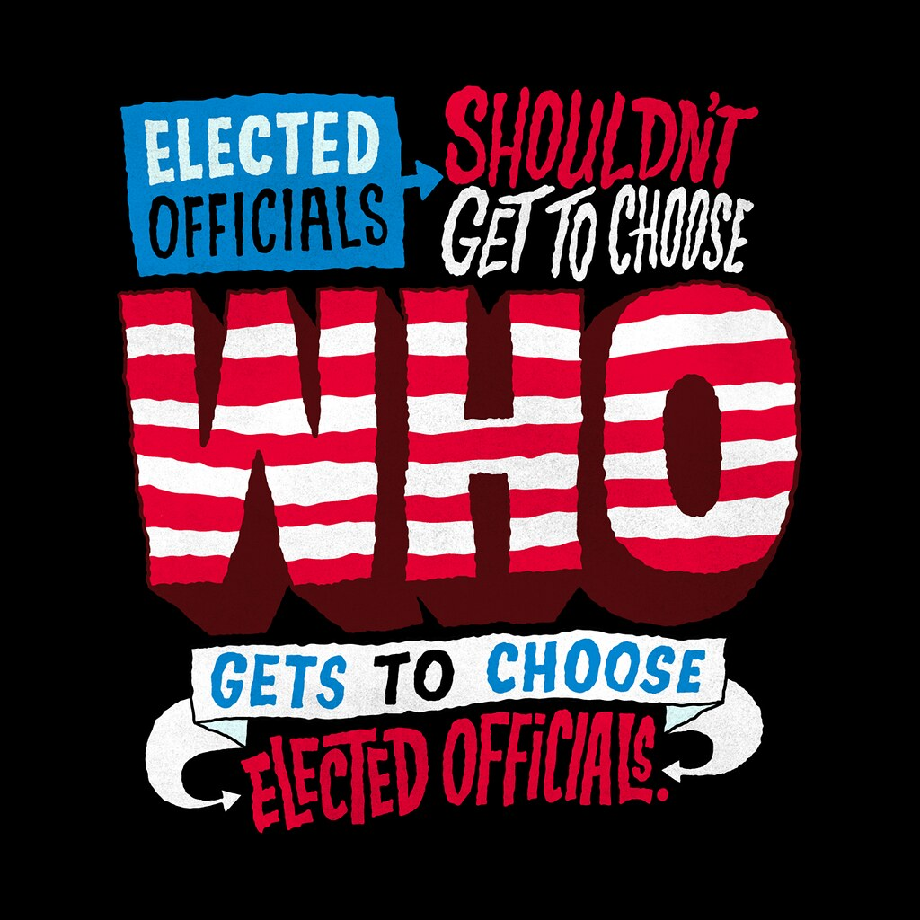 "Graphic reading ""Elected officials shouldn't get to choose who gets to choose elected officials"""