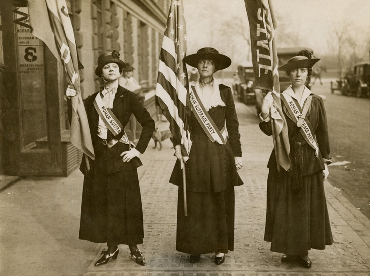 Progressive Views: 19th Amendment women's suffrage supporters holding flags