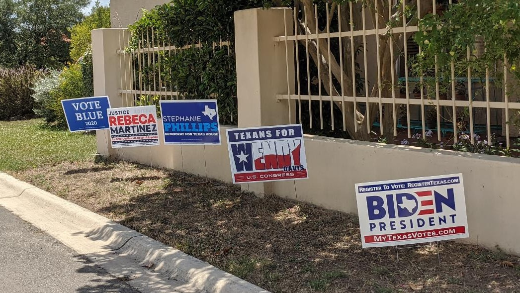 A row of campaign yard signs: Biden for President, Texans for Wendy Davis, Stephanie Phillips for HD73, Rebeca Martinez for Judge, Vote Blue 2020
