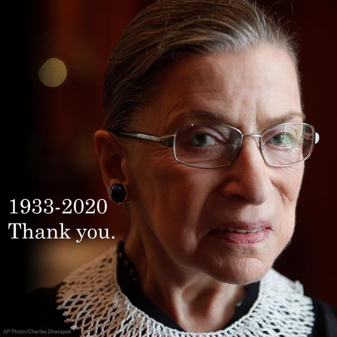 "Photo of Ruth Bader Ginsburg with text: ""1933-2020. Thank you."""
