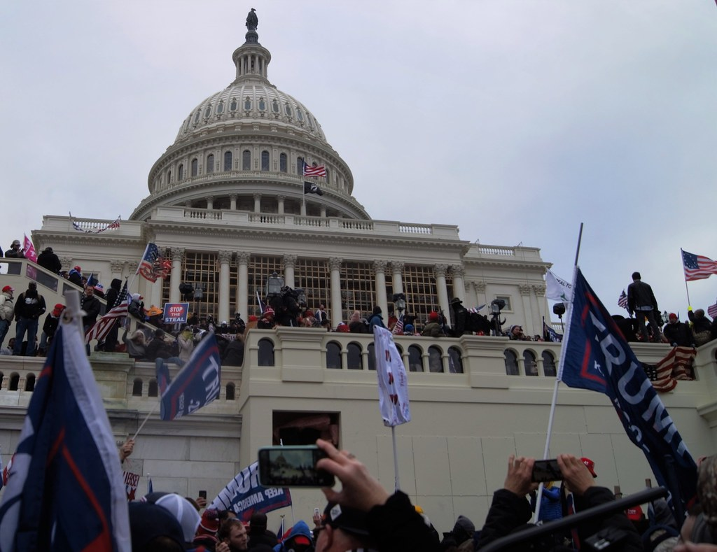 Rioters outside the US Capitol on January 6, 2021