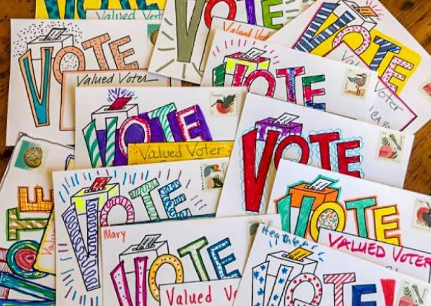 Brightly decorated postcards with messages to vote