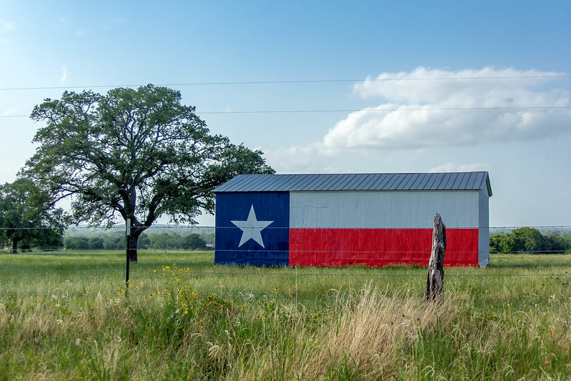 Rural Texas barn with Texas Flag painted on the side